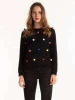 Sweterek z kolorowymi pomponami