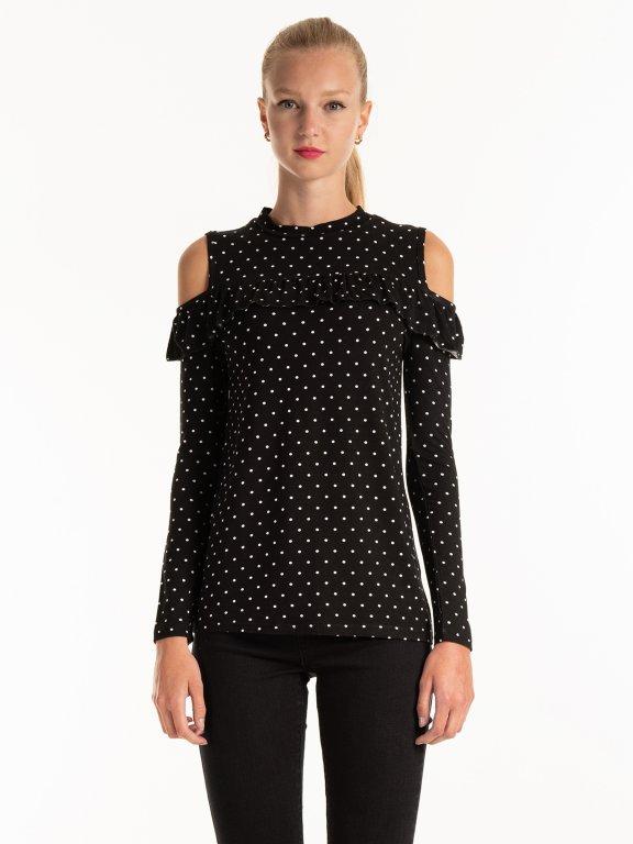 Cold-shoulder polka dot print top with ruffle
