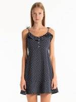 Polka dot print sleeveless dress