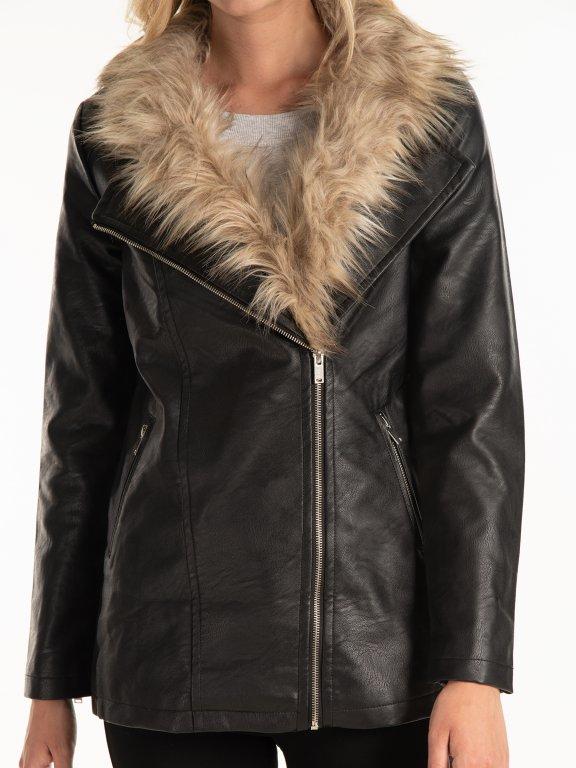 Dlhá motorkárska bunda z imitácie kože s odnímateľnou kožušinou