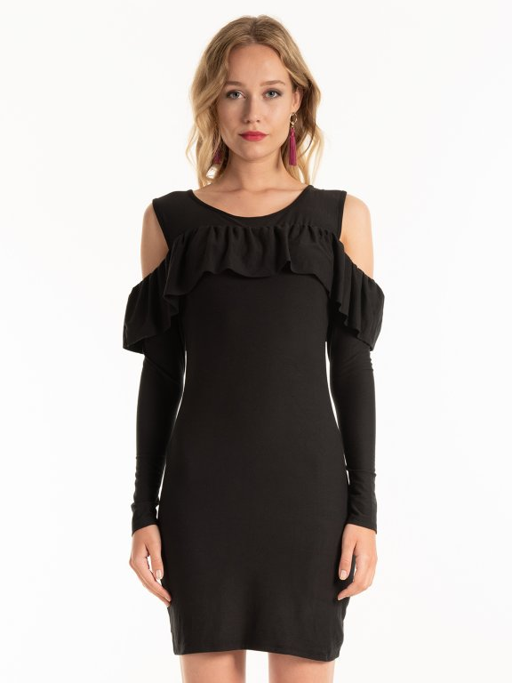 Cold-shoulder bodycon mini dress with ruffle detail
