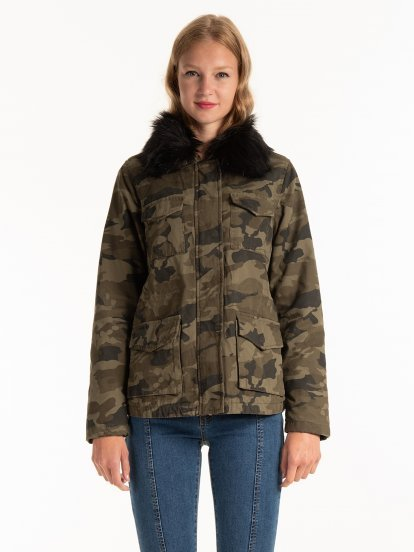 Camo print faux fur lined cotton parka