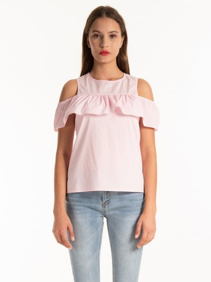 COLD-SHOULDER BLOUSE TOP WITH RUFFLE