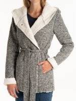 Pile lined coat with hood