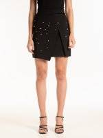 Mini wrap skirt with pearls