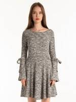 Marled ballerina dress with bell sleeves