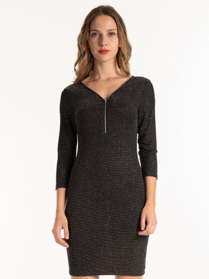 Glitter bodycon dress with zipper
