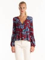 FLOWER PRINT PEPLUM TOP