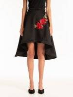 A-line high-low skirt with floral embroidery