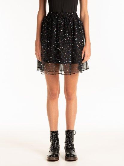 Tulle mini skirt with metallic sequins