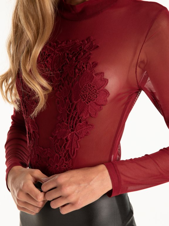 Mesh bosysuit with floral embroidery