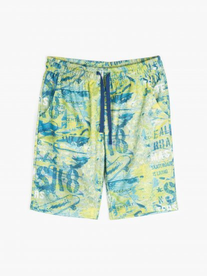 Mesh sweatshorts with print