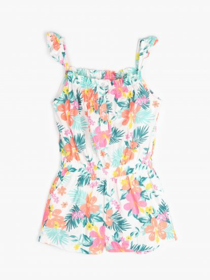 Floral print short jumpsuit