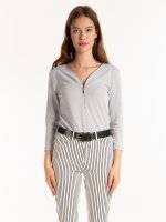 LONGLINE MARLED TOP WITH FRONT ZIPPER