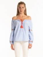 STRIPED A-LINE BLOUSE WITH EMBROIDERY