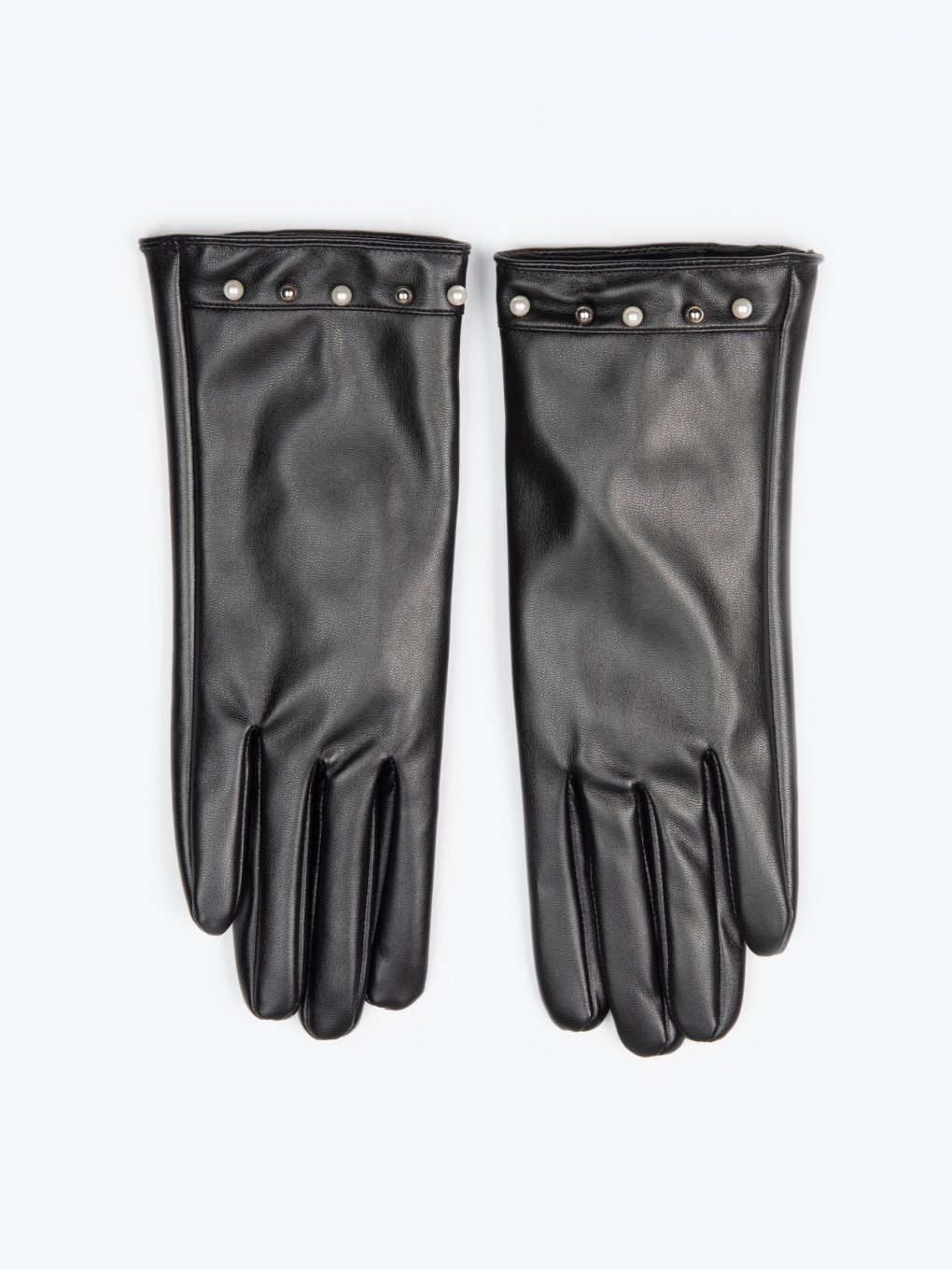 Faux leather gloves with pearls