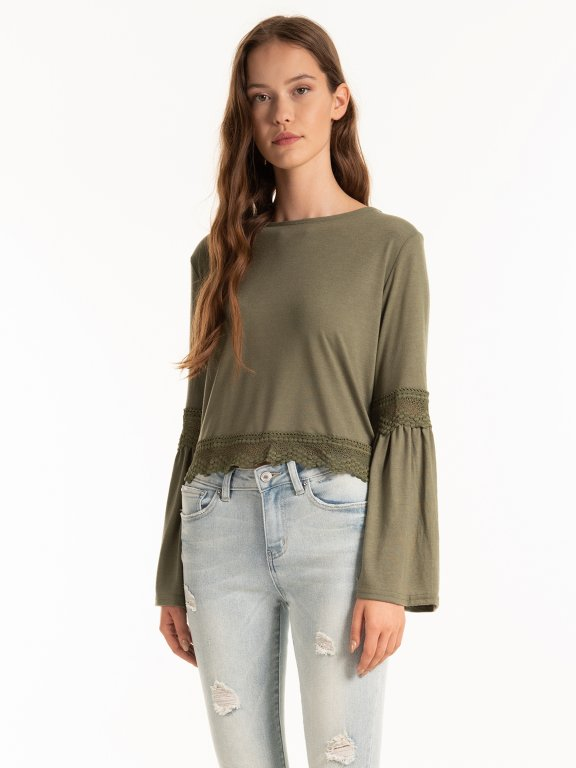 Ruffle sleeve top with lace detail