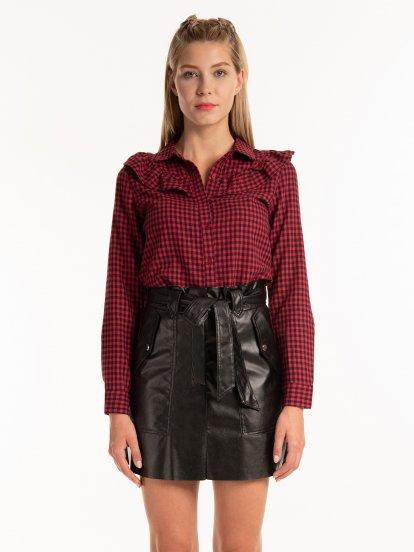 Kockovaná bavlnená košeľa s volánom