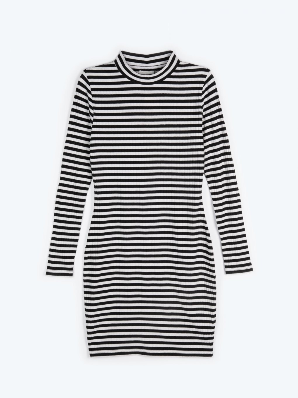 Striped high collar dress