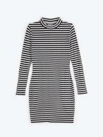 Striped high collar dress