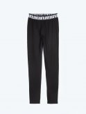 Cotton leggings with printed waistband