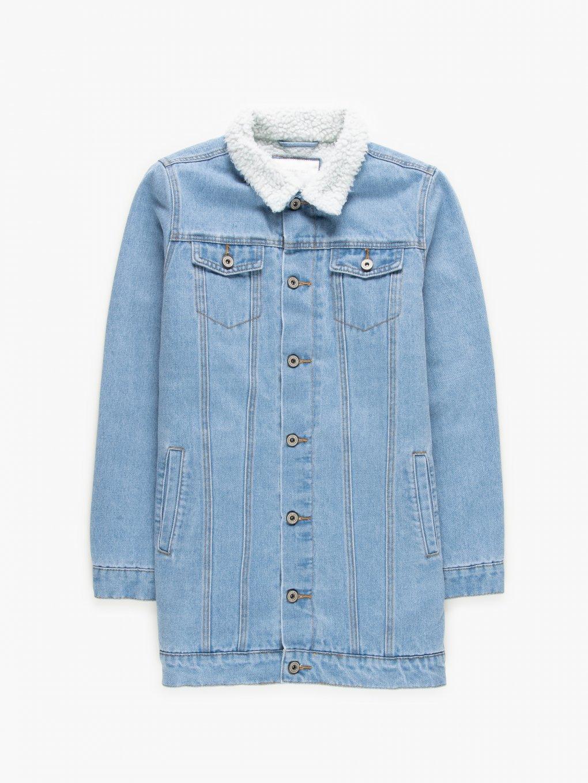 Pile lined long denim jacket