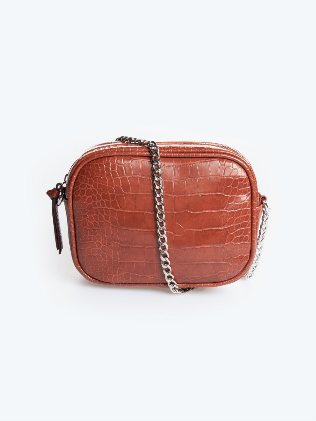 Croc effect crossbody bag with chain strap