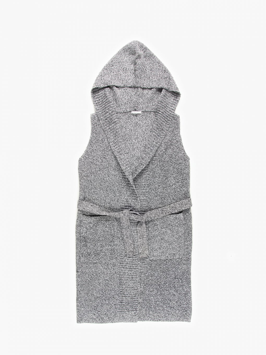 Knitted vest with hood