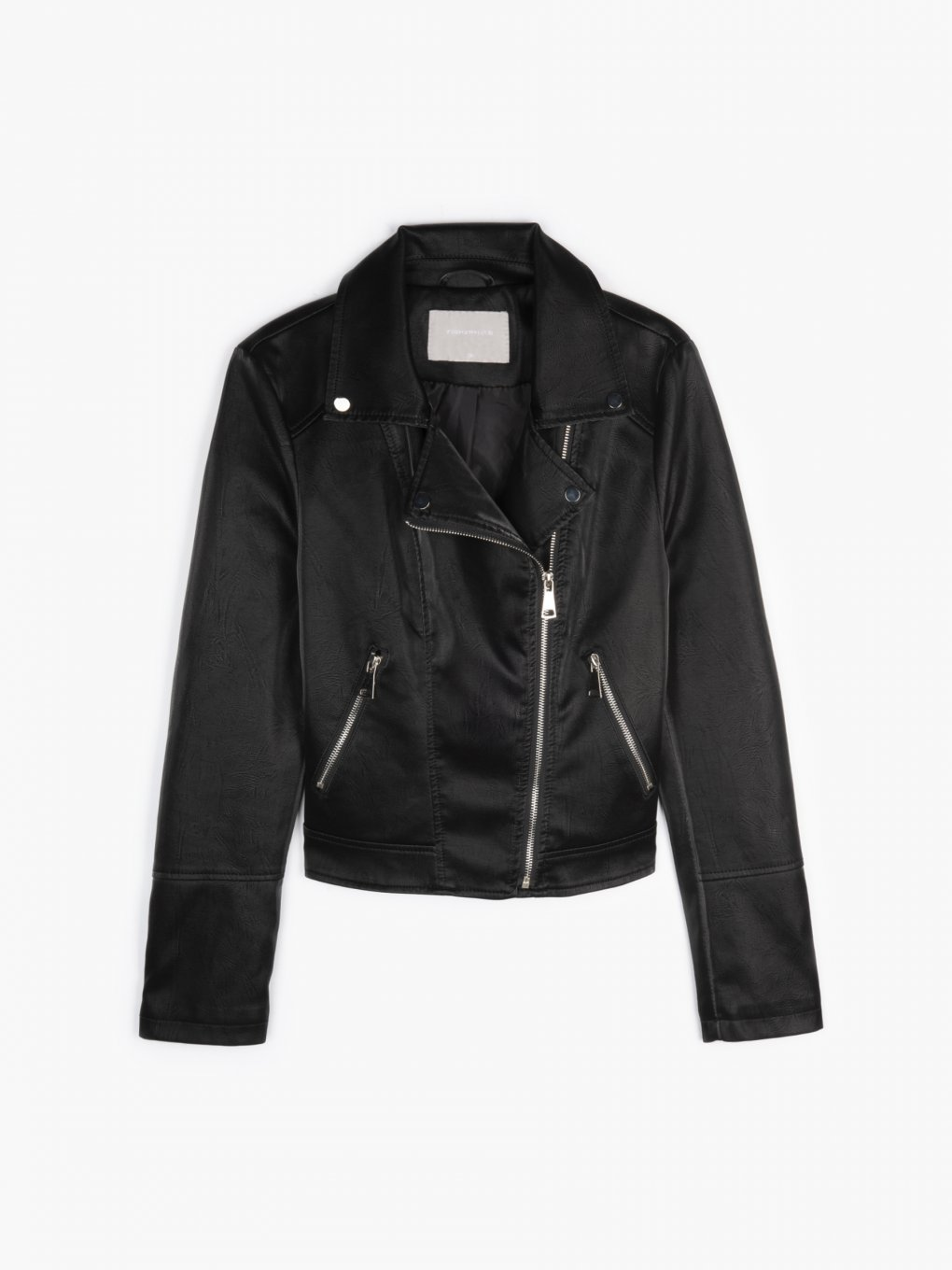 Biker jacket with shiny effect