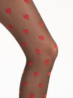 Hearts pattern tights