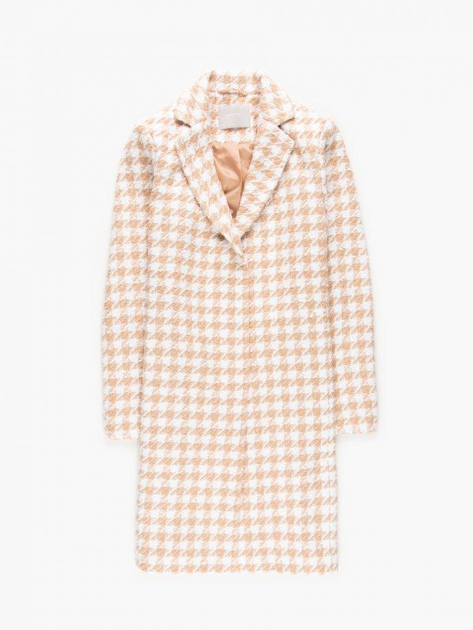Houndstooth patterned coat
