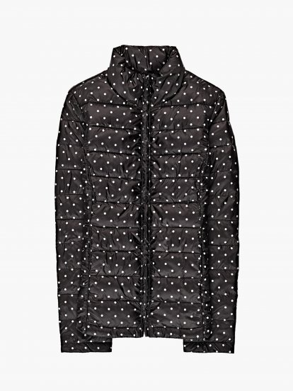 Polka dot print quilted light padded jacket