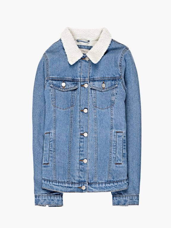Pile lined denim aviator jacket