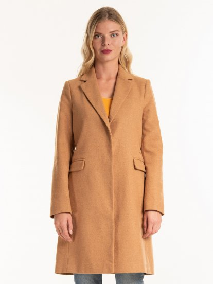 Basic coat in wool blend