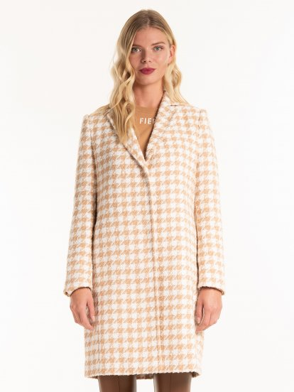 Houndstooth patterned coat