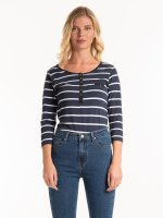 STRIPED T-SHIRT WITH FRONT BUTTONS