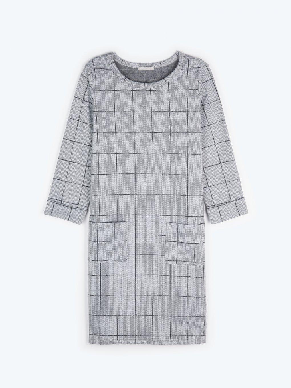 Kockované šaty s vreckami