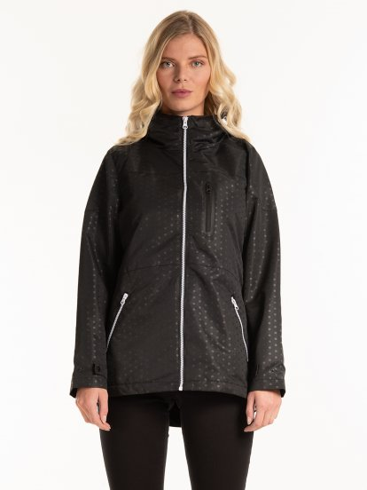 Hooded jacket with contrast zippers
