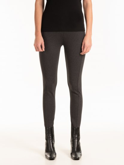 High waist jeggings with faux buttons