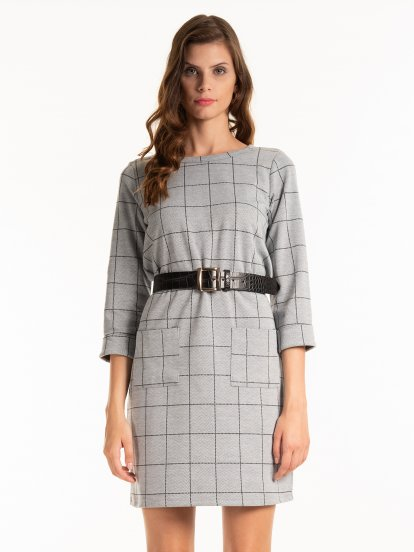 Plaid dress with patch pockets