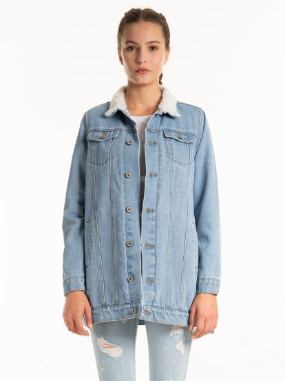 Pile lined long denim jacket