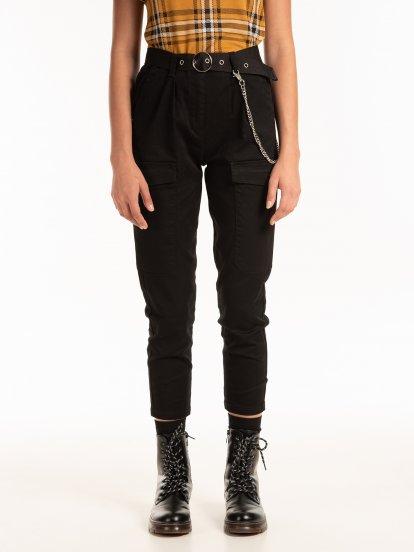 Spodnie cargo z paskiem