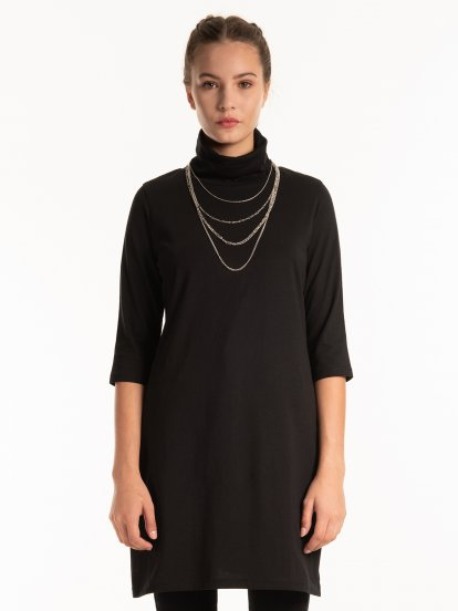 Longline roll neck t-shirt with side slits