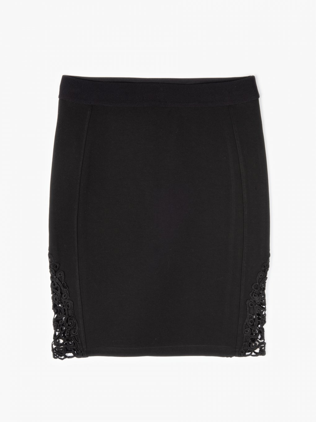 Bodycon skirt with lace detail