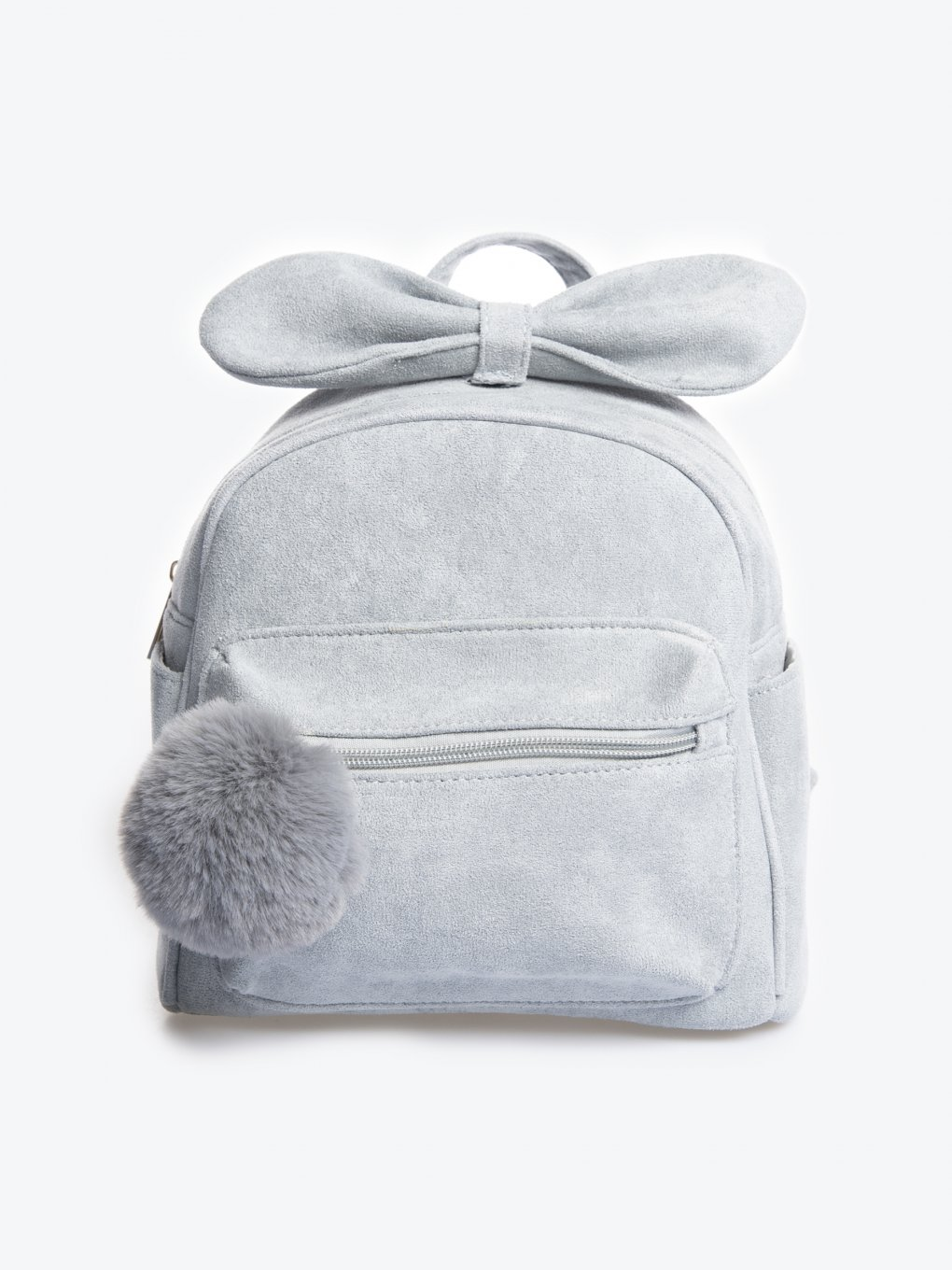 Backpack with pom pom