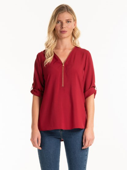 Viscose blouse with zipper