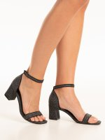 Glitter block heel sandals