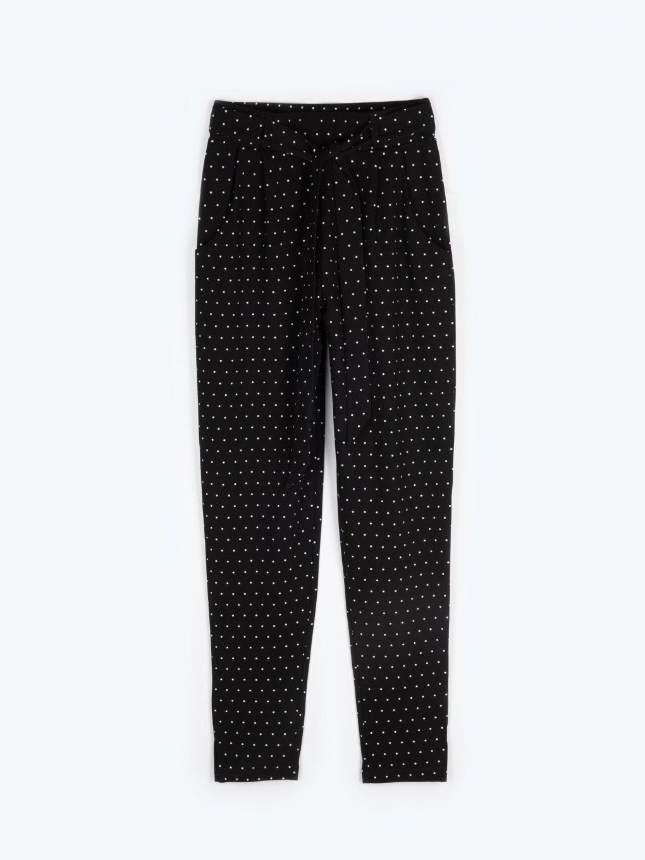 High waist polka dot print trousers