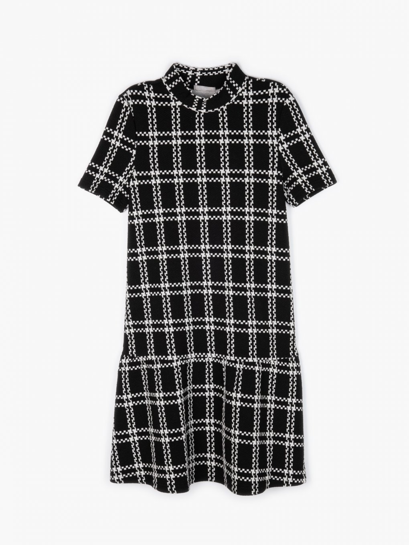 Structured high neck plaid dress
