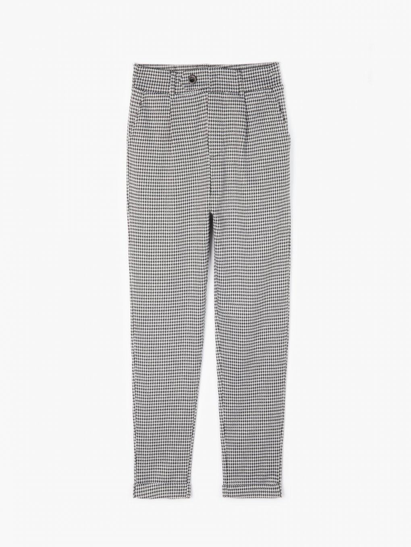 Elastické nohavice s pepitovým vzorom